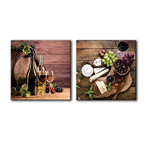 """NWT Canvas Wall Art Wine & Fruits Painting Artwork for Home Prints Framed - 16""""x16"""" x 2 Panels"""