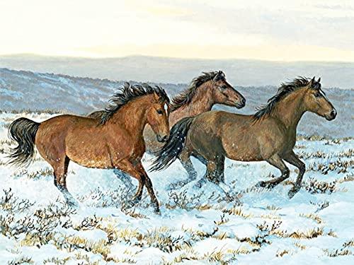 Pintura de diamantes animales de invierno punto de cruz cuadrado completo bordado de diamantes imagen de caballo de diamantes de imitación decoración del hogar A3 50x70cm