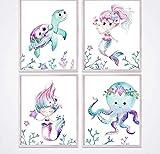 QINGRENJIE Meerjungfrau Leinwand Poster Kinderzimmer