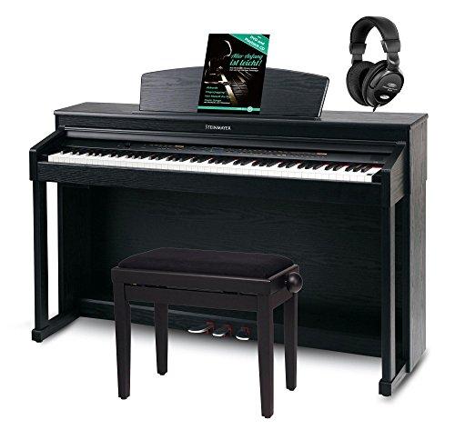 Steinmayer DP-360 SM Digitalpiano Set (88 Tasten, weiße Tasten aus Echtholz, Hammergewichtung, inkl. Klavierbank, Kopfhörer & Schule) schwarz matt