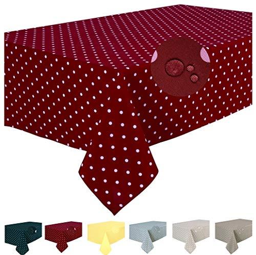 Home Direct Mantel Antimanchas, Resistente a Líquidos 100% poliéster, Rectangular 140 x 240cm Lunares Rojo Oscuro