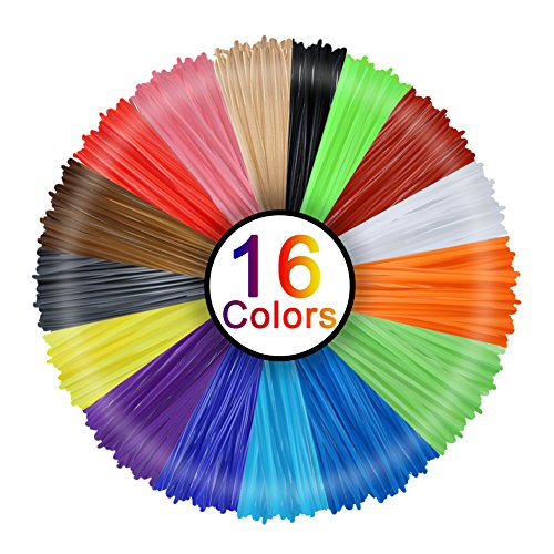3D Stift Filament, Rusee 16 Farben 5M 3D Pen PLA Filament Ink Filament 1.75mm 3D Print Filament 3D Printing Pen Supplies 3D Stift Farben Set für 3D Stift, 3D Drucker, 3D Pen