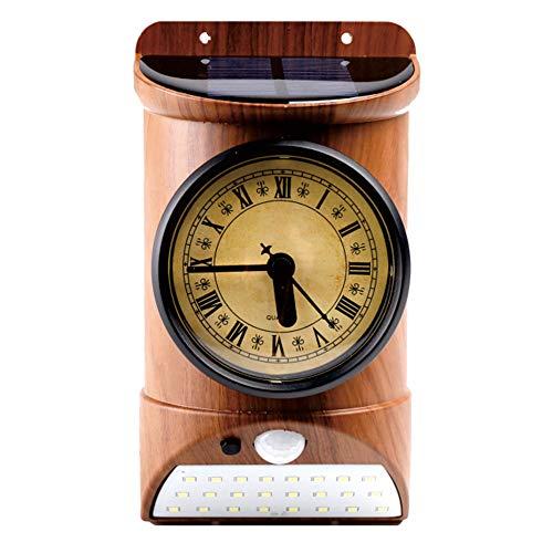 Docooler Solar-Außenwandleuchte, Gehäuse mit Infrarot-Erkennung und Lichtsteuerung, IP44, weißes Licht, schwarz/braun, Holzmaserung, Uhr/Hygrometer/Thermometer