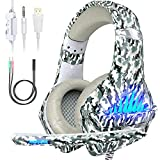 VersionTECH. Gaming Headset für PS4 / Xbox One / PC / Nintendo Switch, Over Ear Stereo Game Kopfhörer mit Mikrofon, LED-Leuchten, 50 mm Treiber-Lautsprecher, Camouflage-Weiß
