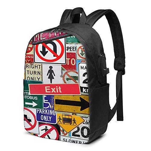 XCNGG Señales de tráfico Business Laptop School Bookbag Mochila de Viaje con Puerto de Carga USB y Puerto para Auriculares de 17 Pulgadas