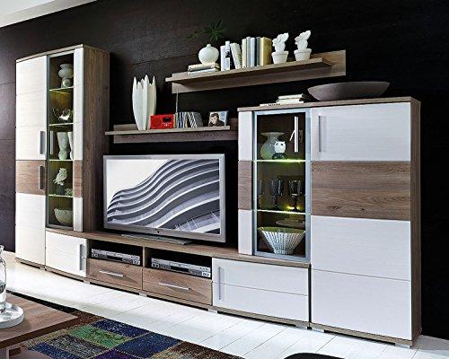 Avanti Trendstore - Wohnwand in weiß und Eiche Dekor, ca. 296x198x50cm