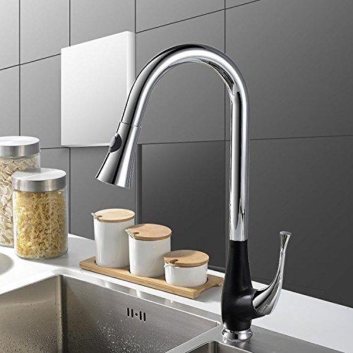 Tw De estilo europeo, cocina-nido del grifo / fría y agua caliente 360 ??° de rotación de pintura negro fregadero de la cocina grifo