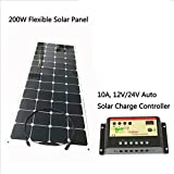 Gowe Flexible Panneau solaire 200W 18VDC monocristallin Cellule solaire avec 1m Fil de connexion Charge batterie 12V