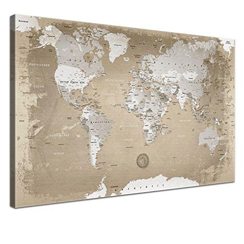 """LANA KK - Weltkarte Leinwandbild mit Korkrückwand zum pinnen der Reiseziele – """"Weltkarte Natur"""" - deutsch - Kunstdruck-Pinnwand Globus in braun, in 120x80cm"""