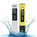 Achort Medidor de pH, Prueba Digital de Calidad del Agua TDS PH EC Temperatura 4 en 1 con Alta precisión y Pantalla LCD, Ideal para Agua Potable/Piscina/Acuario/Piscinas