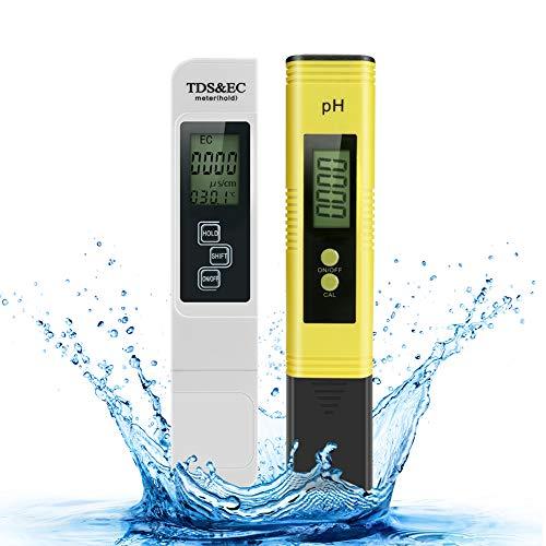 Achort pH Messgerät pH Wert TDS EC Messgerät und Temperatur 4 in 1 Set,pH Tester Pool Wasserqualitätstest Leitwertmessgerät mit LCD Display Ideal für Trinkwasser/Schwimmbad/Aquarium/Pools