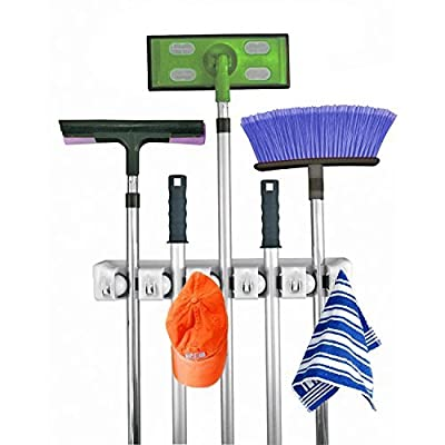 Home- It Mop and Broom Holder, 5 Position with 6 Hooks Garage Storage Holds up to 11 Tools, Storage Solutions for Broom Holders, Garage Storage Systems Broom Organizer for Garage Shelving Ideas