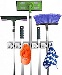 Home- It Mop and Broom Holder, 5 Position with 6 Hooks Garage Storage Holds up to 11..