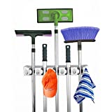 Home- It Mop and Broom Holder, 5 Position with 6 Hooks Garage Storage...