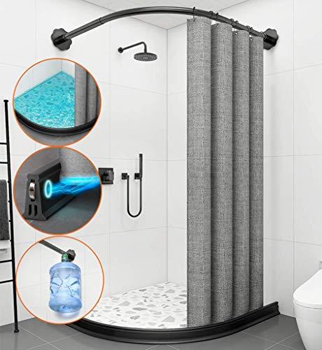 DYB Barra de Cortina de Ducha Curva en Forma de L Barra de bañera de baño Extensible Sin perforación con umbral de Ducha Presa de Agua y Cortina Impermeable a Prueba de Moho, X: 100 * Y: 100