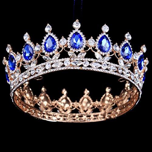 HerZii Prinzessinnen-Diadem mit Strass, für Hochzeit, Party-Zubehör, Kopfschmuck, Krone Blue+Gold