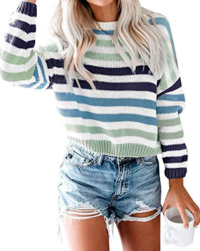 ZESICA Women's Long Sleeve Crew Neck Striped Color Block Casual Loose Knitted Pullover Sweater Tops Green