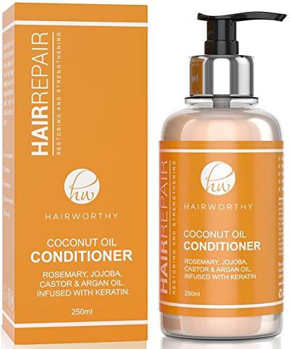 Hairworthy Hairrepair Acondicionador De Cabello Con Aceite De Coco, ACEITE DE ROMERO, JOJOBA, CASTOR Y ARGÁN CON KERATINA.