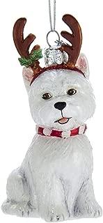 Kurt Adler Noble Gems West Highland Terrier with Antlers Glass Hanging Ornament