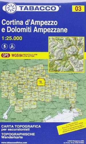 Cortina D'Ampezzo e Dolomiti Ampezzane: Wanderkarte Tabacco. 1:25000 (CARTES TOPOGRAHIQ - 1/25.000)