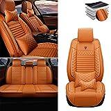 Tuqiang Funda de asiento de coche para Nissan Altima Frontier Note Rogue Versa Pathfinder Sentra Maxima, cuero de lujo impermeable, compatible con airbag, juego completo de lujo naranja