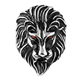 HZMAN Men's Vintage 316L Stainless Steel Lion Ruby Eyes Rings Heavy Metal Rock Punk Style Gothic Biker Ring Silver Gold Black 3 Colors (Silver, 11)