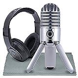 Samson Meteor Mic Studio USB Condenser Microphone and Headphones with Fibertique Cleaning Cloth (Chrome)