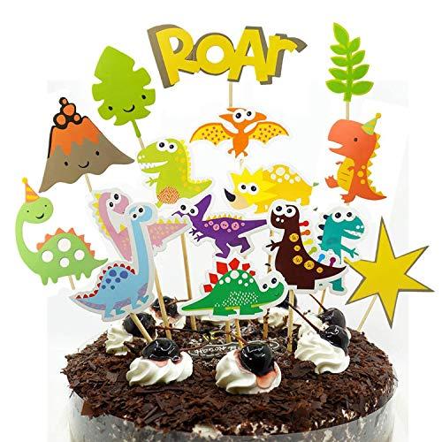 Simon Lee Woodham 16 Stück Dinosaurier Kuchen Topper, Kuchendeckel Zoo, für Kinder Baby Party, Geburtstag Party Kuchen Dekoration Supplies