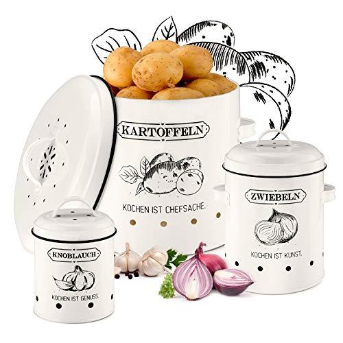 PEPELLIA Vorratsbehälter Set [mit belüfteten Deckeln] - extra frische Vorratsdosen Küche - für Zwiebel Aufbewahrung Kartoffel Aufbewahrung Knoblauch Aufbewahrung - von Hand designte Küchen Deko