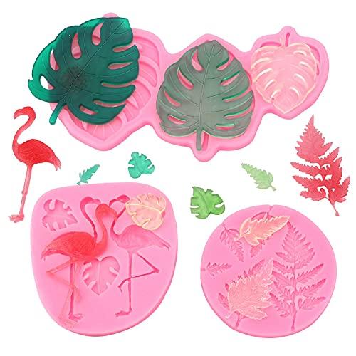 Moldes de silicona Hawaii,3D Hawaii Tropical Leaf Flamingo DIY Molde para hornear para dulces pasteles de chocolate,paquete de 3 moldes de resina de palmera tropical de verano para jabón