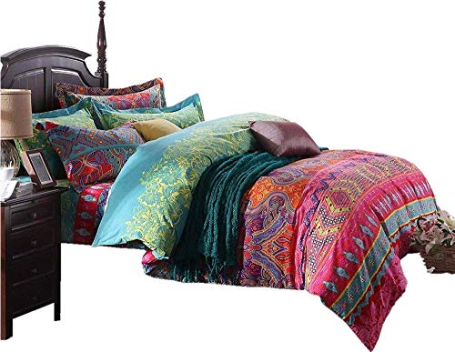 LELVA Ethnic Exotic Bedding Set Bohemian Quilt Cover Sets Boho Duvet Cover Sets with Flat Sheets 4 Piece Cotton King Size