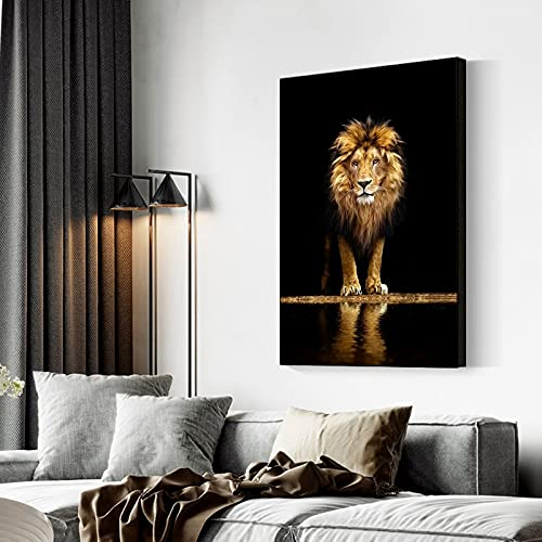 Mubaolei Carteles e Impresiones de Lienzo de león Salvaje Pinturas de Animales africanos Cuadros artísticos de Pared para la decoración de la Pared de la Sala de Estar del hogar 60x80cm
