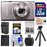 Canon PowerShot Elph 360 HS Wi-Fi Digital Camera (Silver) with 32GB Card + Battery & Charger + Flex Tripod + Kit