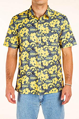Iowa Hawkeyes Hawaiian Shirt Floral - X-Large - Black