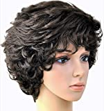 Forever Young Peluca de pelo corto para mujer, color marrón, con rizos rodantes.