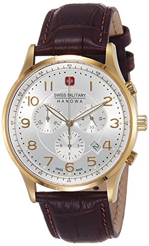 Swiss Military 06-4187-02-001 Patriot Chronograph Brown Textured Leather Gents Watch Leather