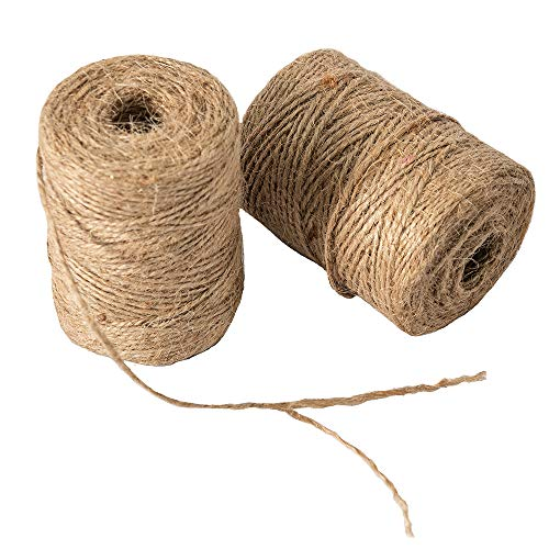 328 Feet 2ply Natural Jute Twine,Arts Crafts Gift Twine Durable Packing String for Gardening Applications(Pack of 2)