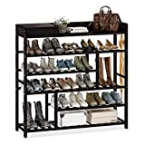 Bamworld Shoes Rack Shelf Organizer Entryway 5 Tier Bamboo for 24 Pair Boots Footwear Book Flowerpots with Storage Box (Black)