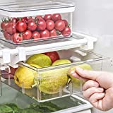 Self Ideas - Cajón organizador de frigorifico extraible con 4 compartimientos. Organizador de frigorifico extraible de gran capacidad. Organizador de cocina muy facil de instalar.