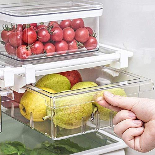 Self Ideas - Cajón organizador de frigorífico extraíble. Organizador de frigorífico extraíble de gran capacidad. Organizador de cocina muy fácil de instalar. (4 compartimientos)