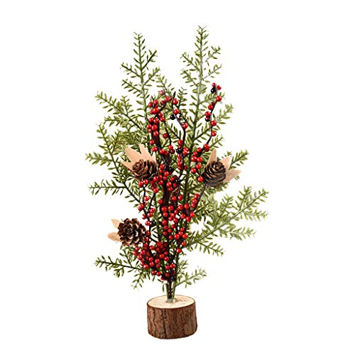 aliveGOT Christmas Tree Without Led Lights Luxury Xmas Tree Tabletop Hanging Decorations Artificial Mini Christmas Pine Tree, Table Decorative Festival Party Home Decor Xmas Gifts (Red)