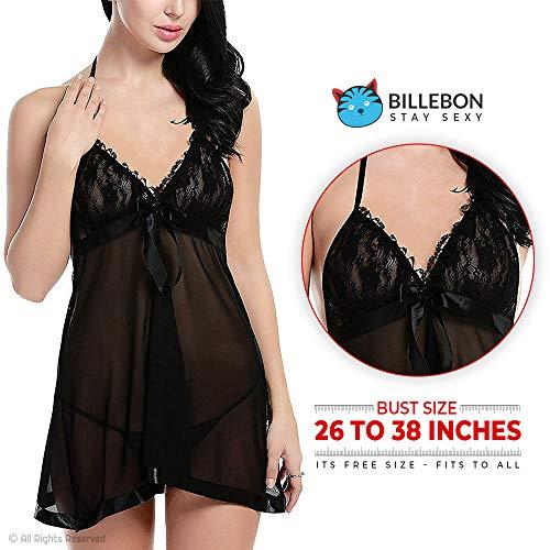 Billebon- Baby Doll Lingerie Sleepwear Dress for Women/Ladies/Girls Nightwear with G-String(White Cyan) (Black)