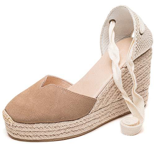 """U-lite Cap Toe Platform Wedges Sandals for Women, Classic Soft Ankle-Tie Lace up Espadrilles Shoes Flesh-Coloured Suede Platform-4"""" 6.5"""