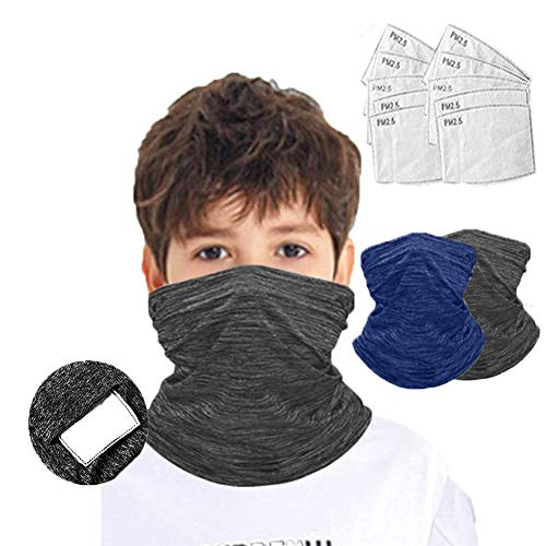 HADM 2pcs Kids Bandana Face Mask with 10pcs Safety Carbon Filters Neck Gaiter Balaclava for Dust Protection …