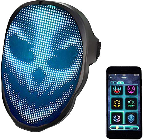 Led Face Mask,Light up Mask with Bluetooth Programmable,Automatic Induction Switch Luminous Mask for Costumes Cosplay (3AA Battery)