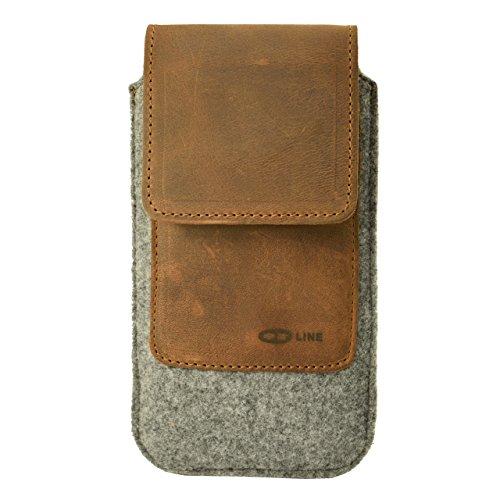OrLine Handytasche kompatibel mit Motorola Droid Turbo 2 mit Silikon Hülle. Gürteltasche mit Magnetverschluß & EC-Kartenfach aus Echtleder mit Filz. Schutz-hülle Handy-hülle Braun-Grau Etui