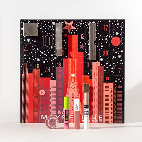 Maybelline New York Adventskalender mit Kosmetik hinter 24 Türchen, Beauty Adventskalender 2020 mit...