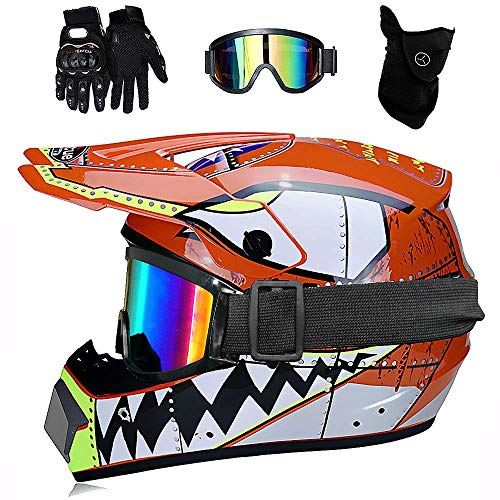 AIRER Youth Full Face Motocross Helmet with Goggles Gloves Mask, D.O.T Certified Off Road Motorcycle Helmet City ATV Protective Helmet, Enduro MTB Downhill Quad SUV Crash Helmet for Boy and Girl