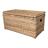 Wholestory Collective Handwoven Wicker 35' Banana Leaf Storage Trunk and Toy Chest XL Organizers with Lid, Natural Color with Handles
