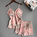 ISKER Ladies' Pajamas Sleepwear Satin Silk Flower 2 Pieces Pyjama Sleep Lounge Women Pajamas Set Femme Pajamas with Chest Pad